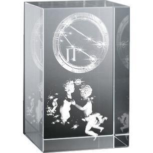 Bloc en verre gravure 3D Gémeaux (Astro)
