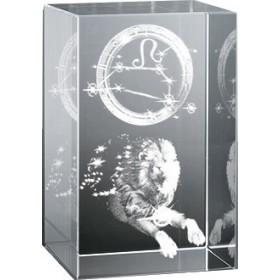 Bloc en verre gravure 3D Lion (Astro)