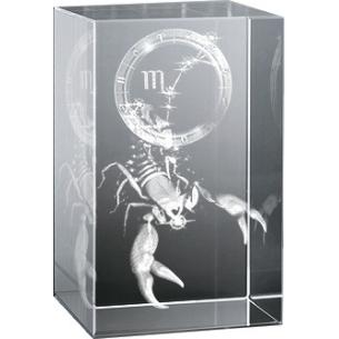 Bloc en verre gravure 3D Scorpion (Astro)