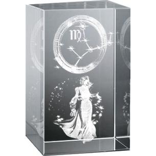Bloc en verre gravure 3D Vierge (Astro)