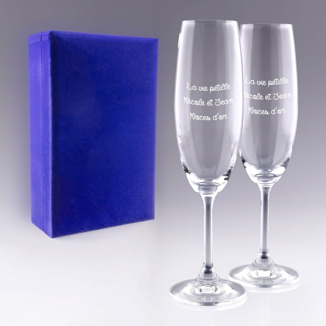 Coffret Flûtes à Champagne Personnalisées pour  Coffret de 2 flûtes...