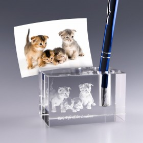 Porte-stylo en verre - gravure photo 3D