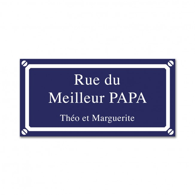 plaque de rue bleue gravée