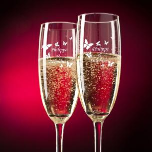 """Flûtes à Champagne """"Papillons"""" à personnaliser"""