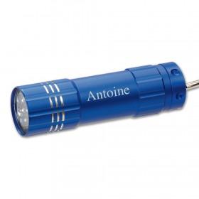 lampe de poche bleue gravée avec texte personnalisé