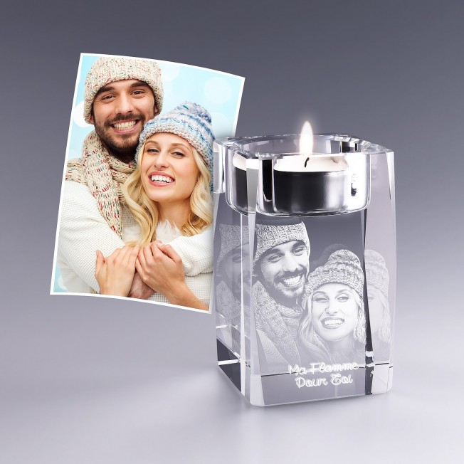 Bougeoir en verre Photo 3D - 8 cm