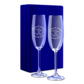"""Coffret velours bleu Flûtes à Champagne """"Cœurs"""""""