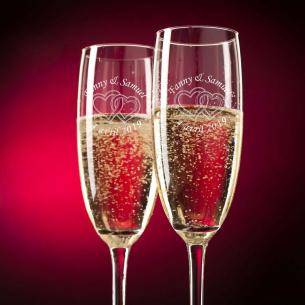"""Flûtes à Champagne """"Cœurs"""" à personnaliser avec un texte"""