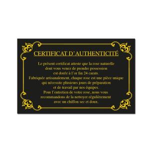 certificat authenticité de la rose en or