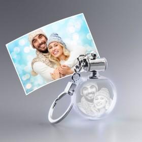 Porte-clef lumineux blanc avec photo gravée
