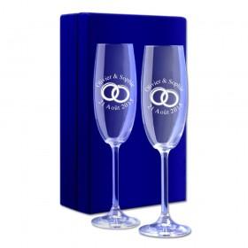 """Coffret Flûtes à Champagne """"Alliances"""" gravé au laser avec un texte"""