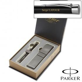 Coffret Cadeau Stylo Noir et Pochette - Urban Parker Personnalisable