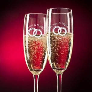 """Flûtes à Champagne """"Alliances"""" à personnaliser"""