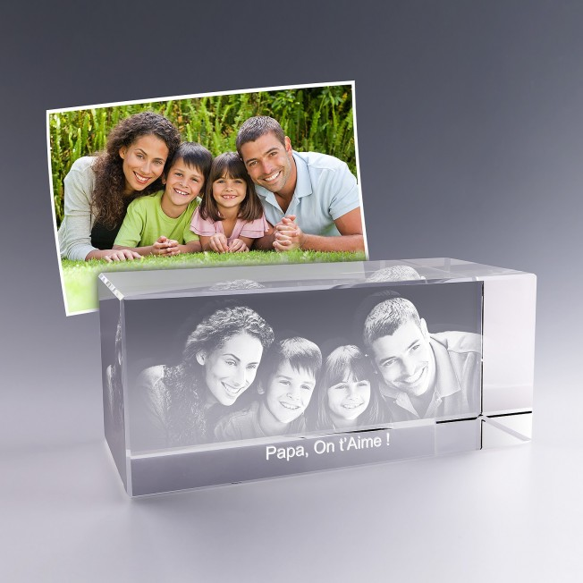 Bloc verre photo 3D - 18 cm - Photo de famille
