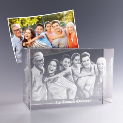 Bloc verre photo 3D 18 cm - Photo de groupe