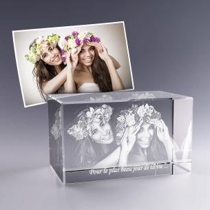 Bloc verre photo 3D - 12 cm - Mariage