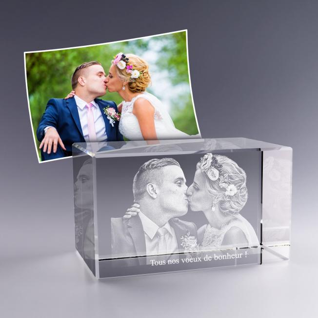 Bloc verre photo 3D - 12cm
