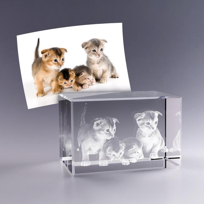 Bloc verre photo 3D - 9cm