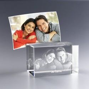 Bloc verre photo 3D 8 cm