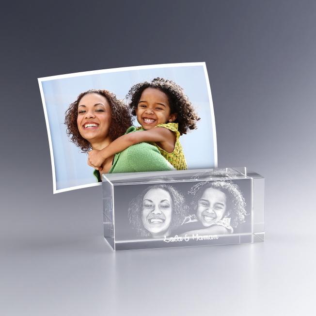 Photo 3D dans bloc en verre
