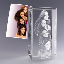 Bloc verre photo 3D 30 cm - cadeau d'exception