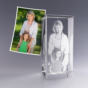 Bloc verre photo 3D 18 cm