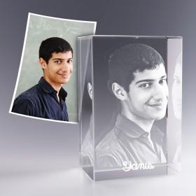 Bloc verre photo 3D 18x12 cm