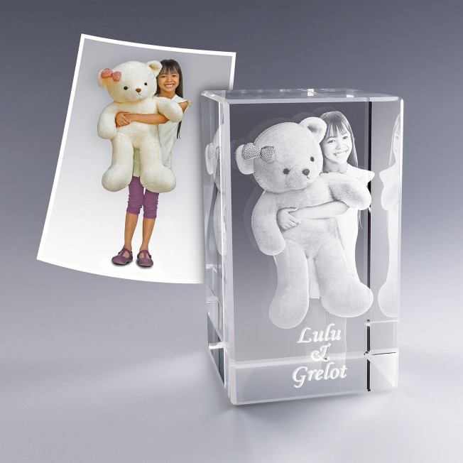 Bloc verre photo 3D - 12 cm