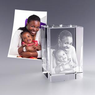 Bloc verre photo 3D - 9 cm - Photo portrait