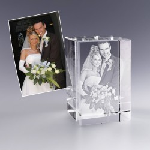 Bloc verre photo 3D - 9 cm - Photo de couple