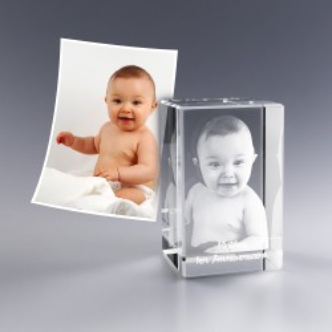 Bloc verre photo 3D - 8 cm
