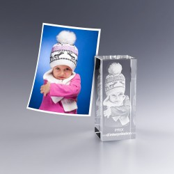 Bloc verre photo 3D - 7 cm - photo portrait