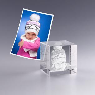 Cube en verre photo 3D - 4 cm
