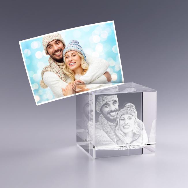 Cube en Verre 5 cm Gravure 3D pour  Vous cherchez une idée de cadea...