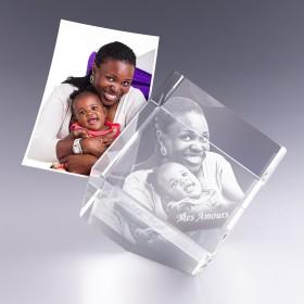 Cube pan coupé 10 cm - gravure photo 3D