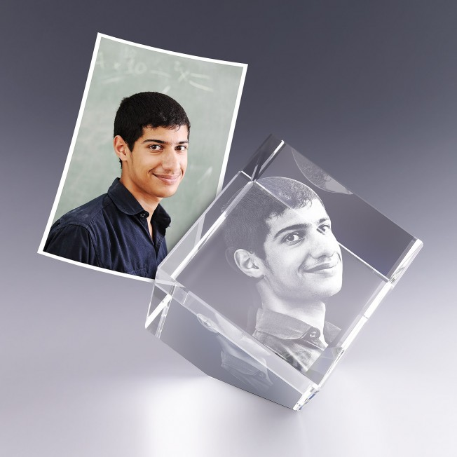 Cube pan coupé 8 cm - gravure photo 3D