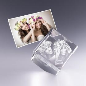 Cube pan coupé 6 cm - gravure photo 3D