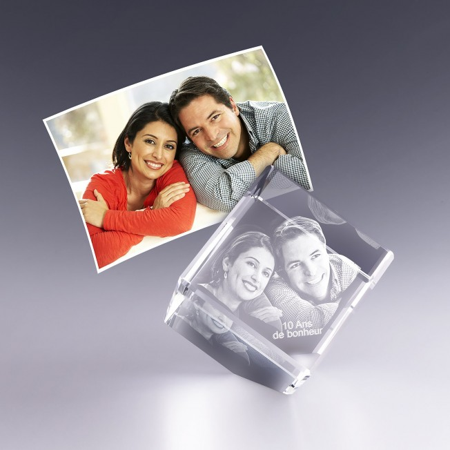 Cube pan coupé 5 cm - gravure photo 3D