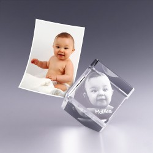Cube pan coupé 4 cm - gravure photo 3D