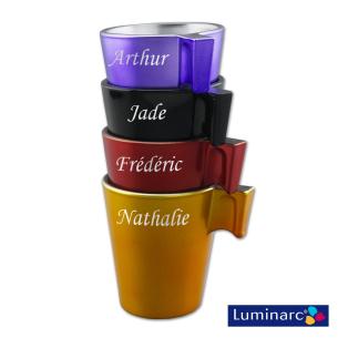 Set de 4 tasses Expresso Luminarc Couleur en Verre Personnalisées