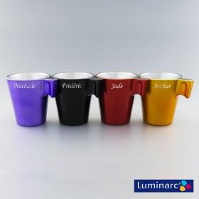 Personnalisation au laser, 4 tasses Luminarc couleur en verre
