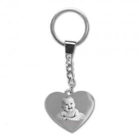 Porte-clefs coeur en métal avec photo gravée