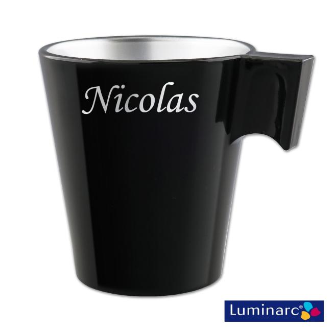 Mug Luminarc Noir en Verre Effet Métal Personnalisé