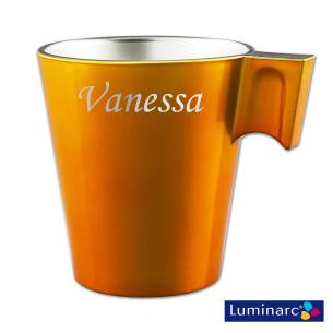 Mug Orange en Verre Effet Métal Personnalisé avec votre prénom