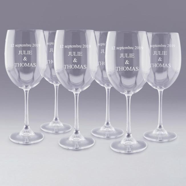 6 Verres à Vin Personnalisés pour  6 Verres à vin à personnaliser d...