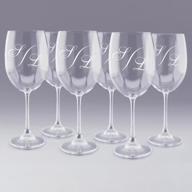 """6 Verres à Vin """"Monogramme"""" Personnalisés"""