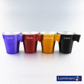 Collection Set de 4 Mugs Luminarc Couleurs en Verre Personnalisés