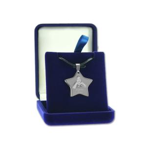 pendentif étoile avec photo gravée - Ecrin cadeau