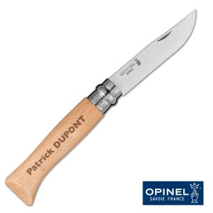Couteau Opinel N°08 Inox gravé avec un prénom