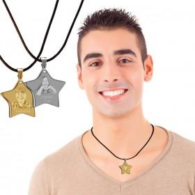 médaillon en forme d'étoile personnalisé avec photo